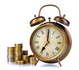 Vieille horloge et pièces